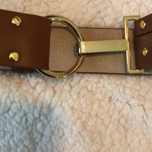 "Chico's Brown Leather Belt Size M/L ""Never Worn"""